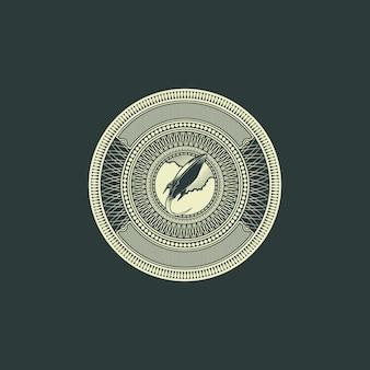 Rocket badge logo gravur dollar stil