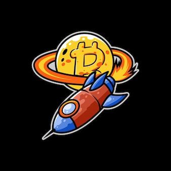 Rocket-bitcoin-mining-währungsmarktraum-raumschiff-star-up