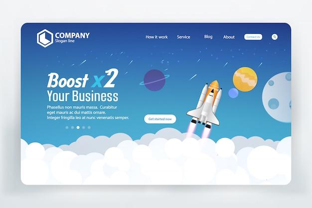 Rocket boost business website-zielseiten-vektor-schablonen-konzept des entwurfes