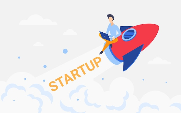 Rocket business startup konzept geschäftsmann, der auf einem raumschiff fliegt und an einer neuen idee arbeitet