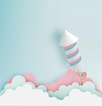 Rocket-feuerwerk mit pastelltonhintergrund in der papierkunst