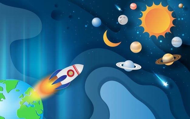Rocket-fliegen mit weltraumgalaxie auf abstrakter kurvenform