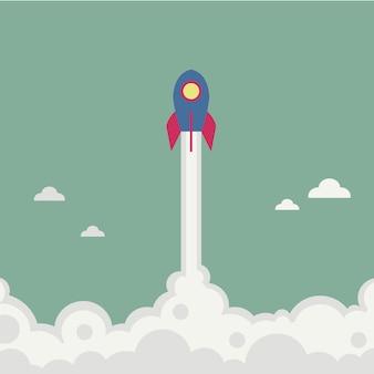 Rocket flyin illustration