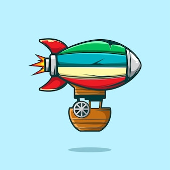 Rocket hot air baloon sky illustration