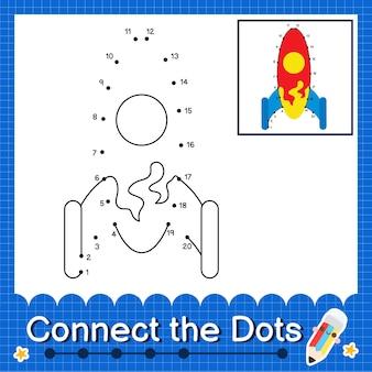 Rocket kids verbinden das punktarbeitsblatt für kinder mit den nummern 1 bis 20