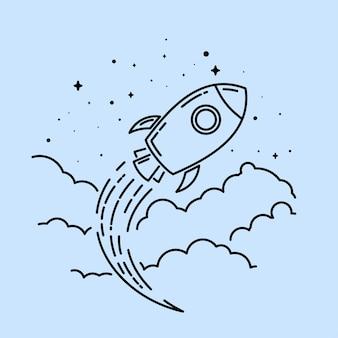 Rocket-linie kunst logo