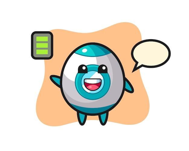 Rocket-maskottchen-charakter mit energischer geste, süßem design für t-shirt, aufkleber, logo-element