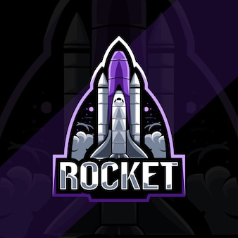 Rocket maskottchen logo esport template design