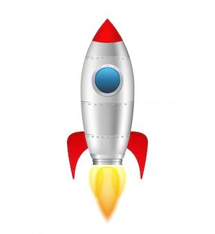 Rocket mit flamme auf weißem hintergrund, illustration des vektors eps10