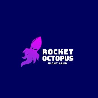 Rocket octopus oder squid, emblem oder logo-vorlage. kreatives konzept auf dunkelblauem hintergrund