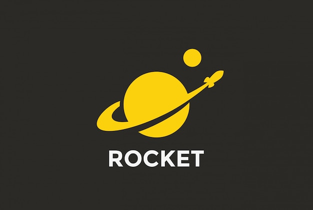 Rocket planet logo symbol.