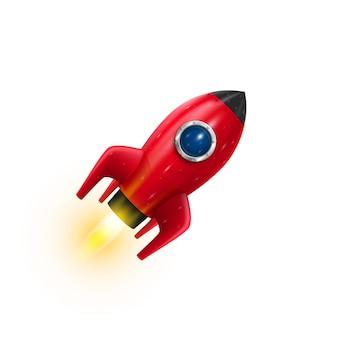 Rocket rotes symbol 3d, realistisches rotes objekt auf weißem hintergrund. vektor-illustration