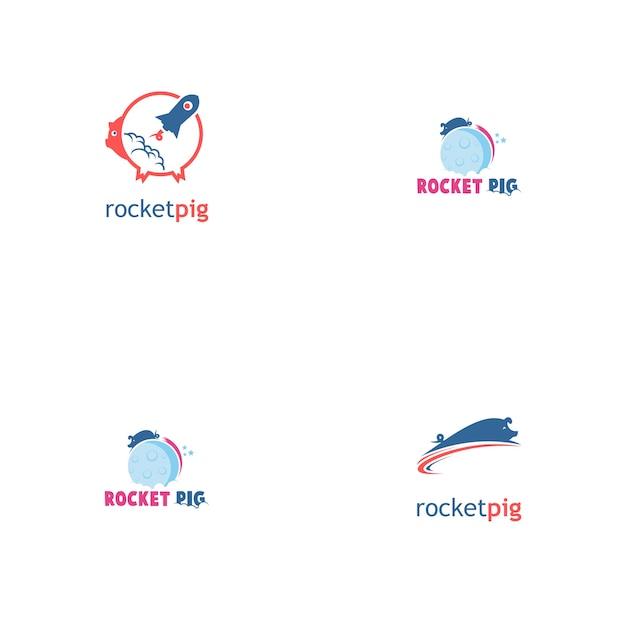 Rocket schwein logo-set