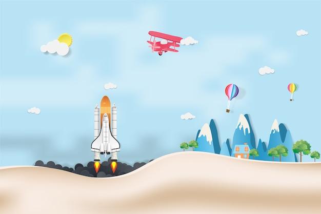 Rocket startup-konzept