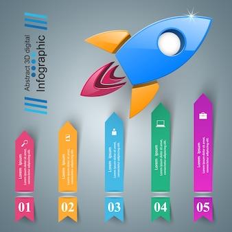 Rocket-symbol. abstrakte abbildung infographik.