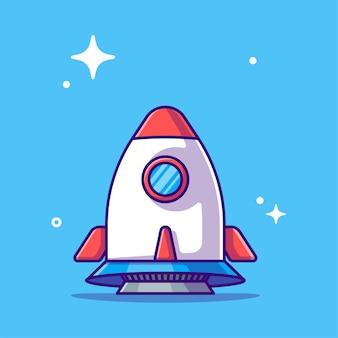 Rocket take off cartoon illustration.