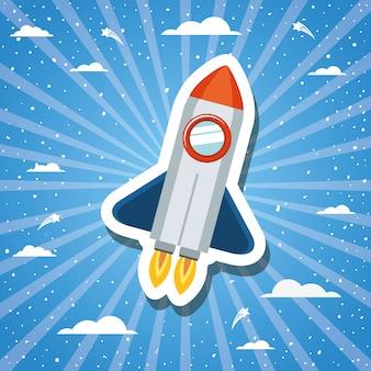 Rocket über sonnendurchbruchdesign-vektorillustration