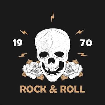 Rockmusik-grunge-druck für kleidung mit skelettschädel und rose vintage rocknroll-typografie
