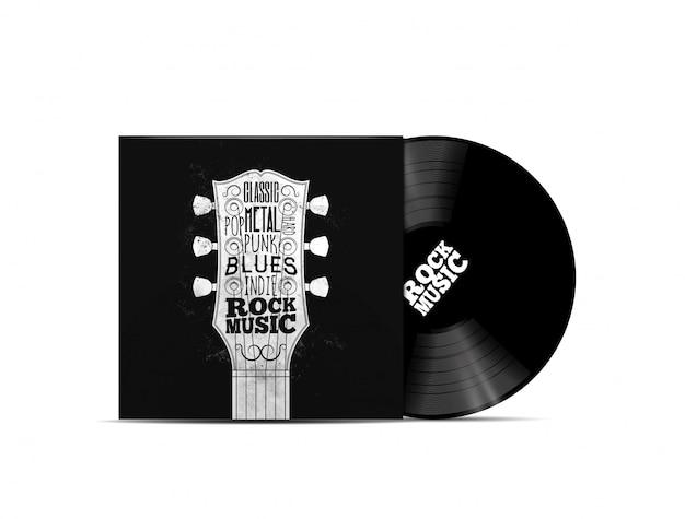 Rockmusik-konzept. vinyl dick mockup mit rock-n-roll-cover im musikstil für die musikwiedergabeliste oder das album. auf weißem hintergrund isoliert. illustration