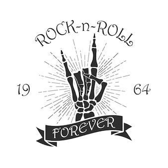 Rockmusik-print mit skeletthand sunburst und band