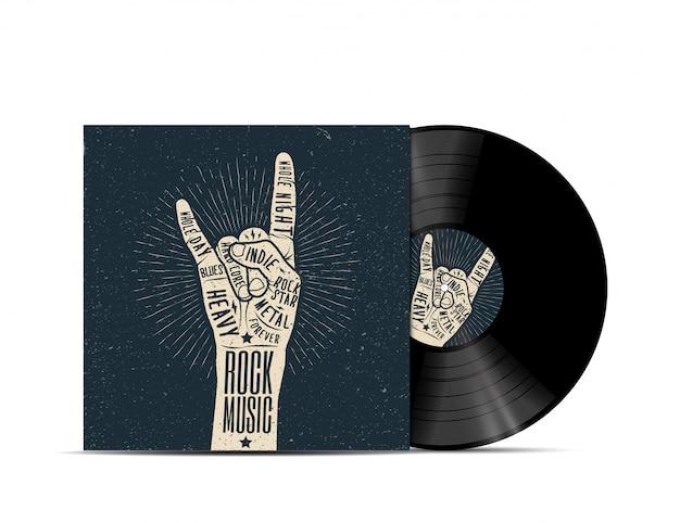 Rockmusik vinyl disc cover. cover für ihre musikwiedergabeliste. auf weißem hintergrund isoliert. realistische illustration.