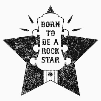 Rocknroll-musik-grunge-druck für t-shirt-kleidung-bekleidungsposter mit gitarre und stern
