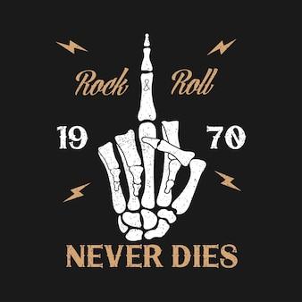 Rocknroll-musik-grunge-typografie für t-shirt kleidungsdesign mit skeletthand zeigt mittelfinger