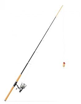 Rod, der für das fischen der vektorillustration spinnt