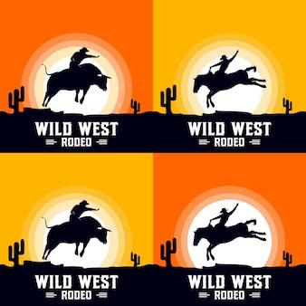Rodeo-cowboy, der stier und pferd auf einem holzschild reitet