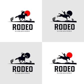 Rodeo-cowboy-reitpferd auf einem holzschild
