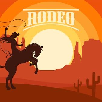 Rodeo hintergrund mit sonnenuntergang