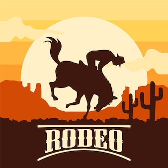 Rodeo hintergrund mit wildpferd