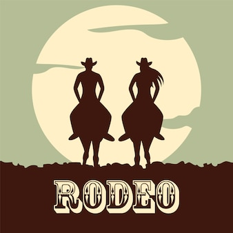 Rodeo hintergrund mit zwei pferden