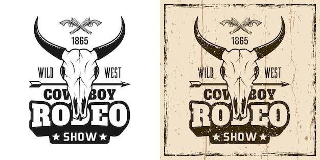 Rodeo-show-vektor-emblem, abzeichen, etikett, logo oder t-shirt-druck in zwei stilrichtungen monochrom und vintage-farbe