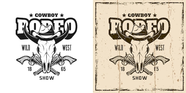 Rodeo-show-vektor-emblem, abzeichen, etikett, logo oder t-shirt-druck mit stierschädel in cowboy-hut in zweifarbigem monochrom und vintage-farbe
