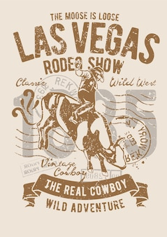 Rodeo-show, vintage illustration poster.