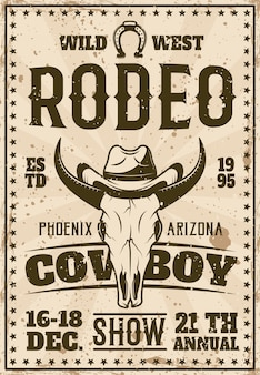 Rodeo zeigen werbeplakat für veranstaltung im retro-stil