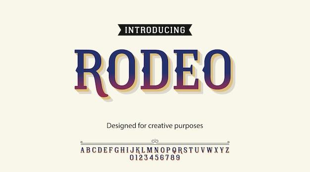 Rodeoschrifttypographie-alphabet mit buchstaben und zahlen