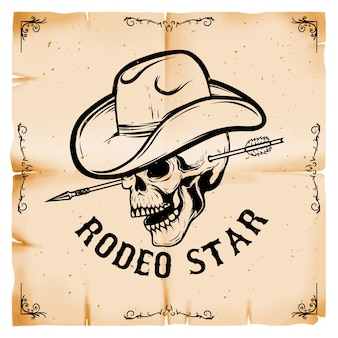 Rodeostar. cowboyschädel auf altem papierarthintergrund. element für plakat, karte. illustration