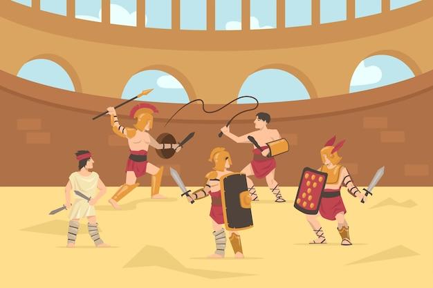 Römische panzersoldaten kämpfen mit schwertern, speeren und peitschen. karikaturillustration.