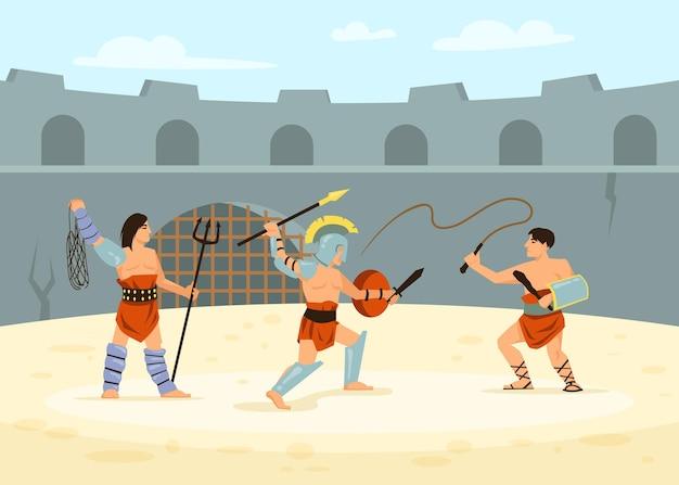 Römische soldaten besiegen sich gegenseitig im kampf auf der arena. karikaturillustration.