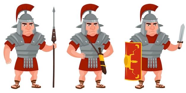 Römischer krieger in verschiedenen posen. männliche figur im cartoon-stil.