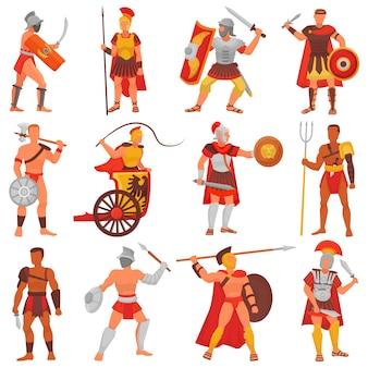 Römischer kriegercharakter des gladiatorvektors in der rüstung mit schwert oder waffe und schild im alten romillustrationssatz des griechischen mannes warrio, der im krieg isoliert isoliert