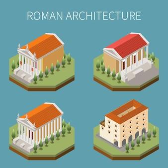Römisches reich stellte mit isometrischer lokalisierter illustration der architektursymbole ein