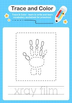 Röntgenfilmspur und farbvorschularbeitsblattspur für kinder zum üben der feinmotorik