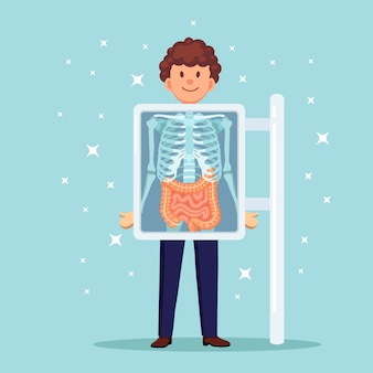 Röntgengerät zum scannen des körpers. röntgen des brustknochens. ultraschall von darm, darm