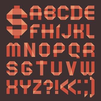Rötliche klebebandschrift (römisches alphabet)