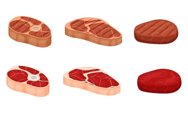 Rohe fleischstücke mit fettschichten und gebratenem fleisch. haxe, filet, schnitzel. rindfleisch