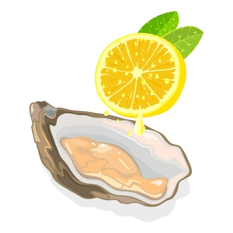 Rohe frische muschel in der schale mit der hälfte der zitronen-meeresfrüchte drücken zitronentropfen