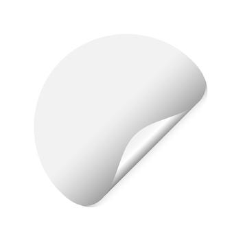 Rohling des kreisförmigen preisschildes mit gebogener ecke. curl-folienblattobjekt, isolierte notiznotizschablone. Premium Vektoren